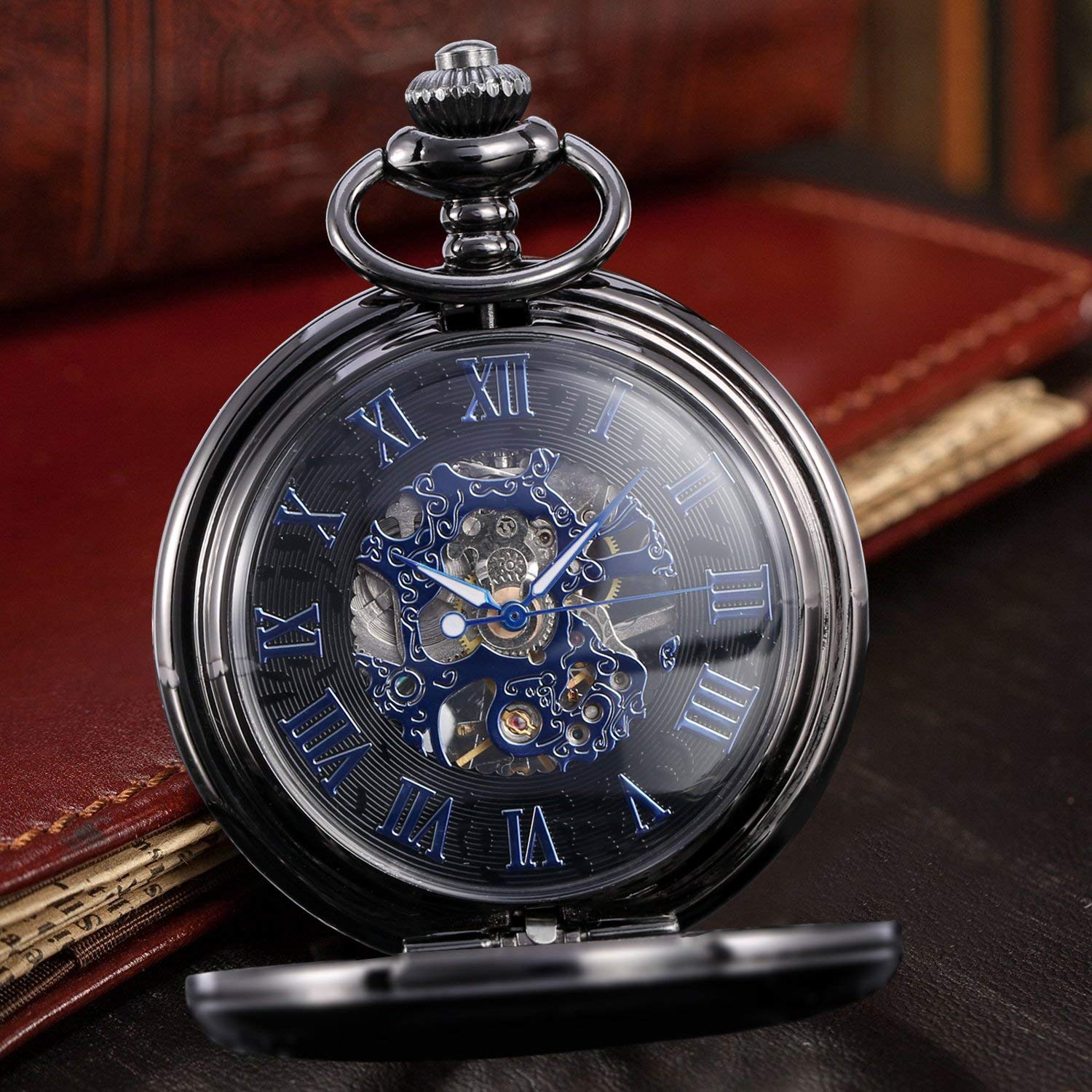 Alienwolf Pocket Watch Steampunk Pocket Watch with Cool Chain for Men Women Bronze -NA6264