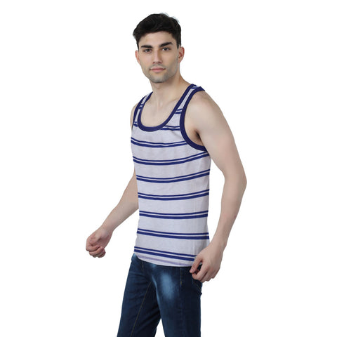 Fassion Boy Sleeve Less T Shirt-Off White Purple Stripes-BE825