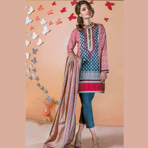 "Ladie's ""Alkaram"" 3 Piece Unstitched Suit-GLA22"