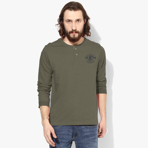 "Men's Cut Label ""Next"" Henley Shirt-Light Green-BE86"