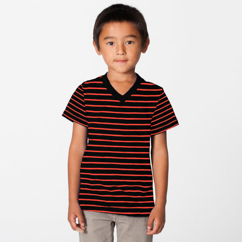 Fassion V Neck T Shirt For Kids-Black & Orange Striper-BE801