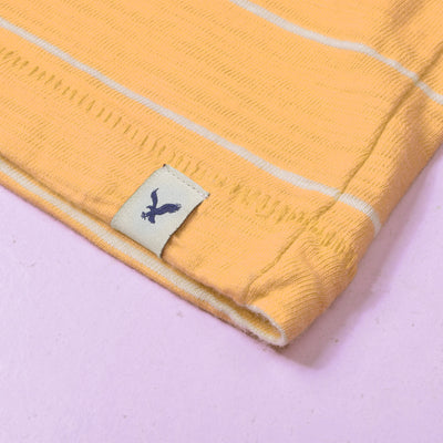 American Eagle Crew Neck Tee Shirt For Men-Yellow Striper-NA10789