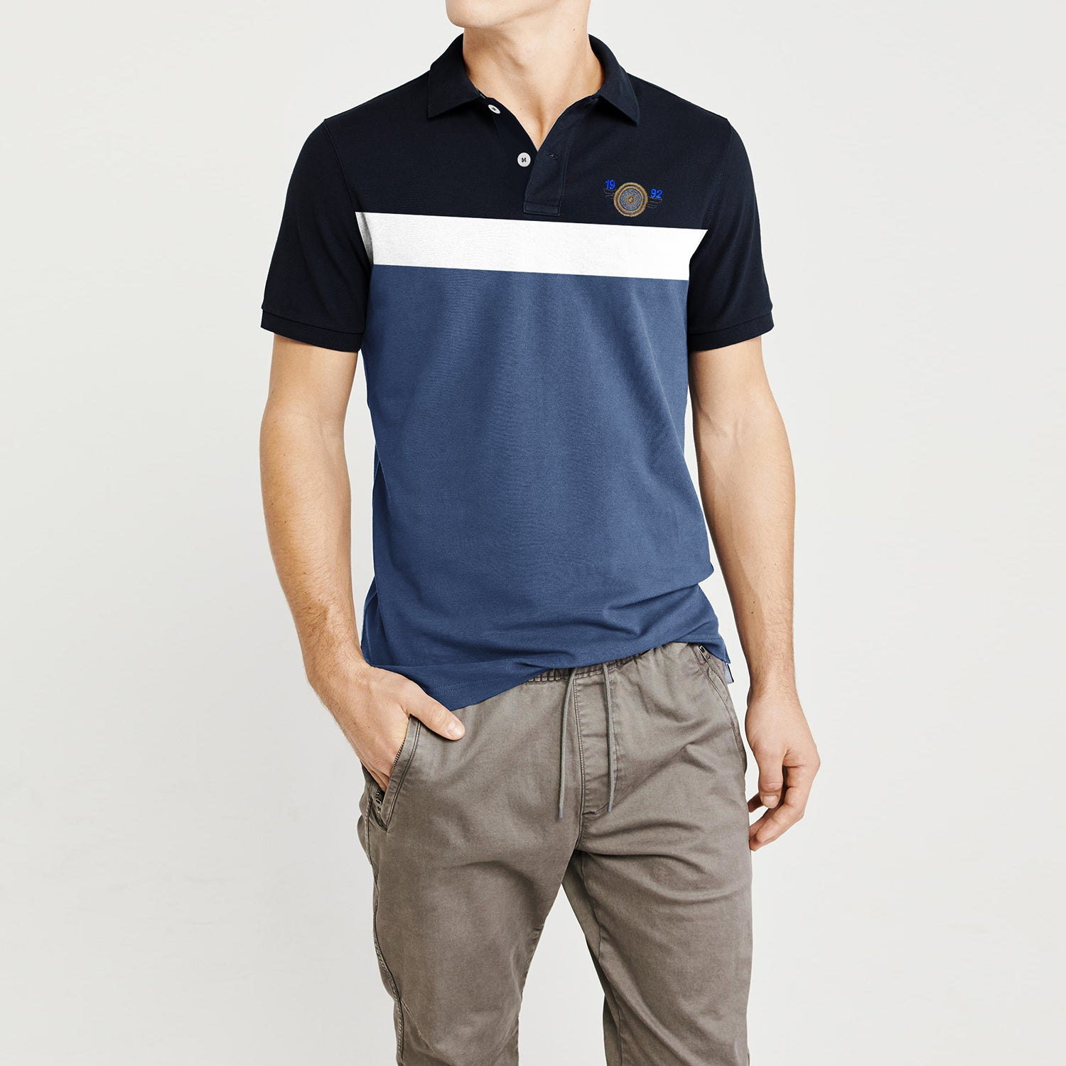American Eagle Cut Label Short Sleeve P.Q Polo Shirt For Men-Dark Navy-White-Sky Blue-Striped-NA7977