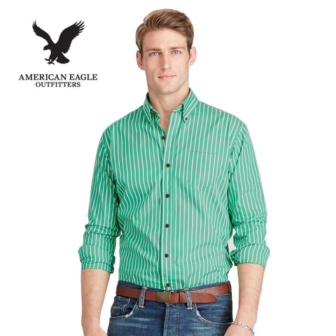 American Eagle Long Sleeve Striped Casual Shirt For Men-Green & White-NA594