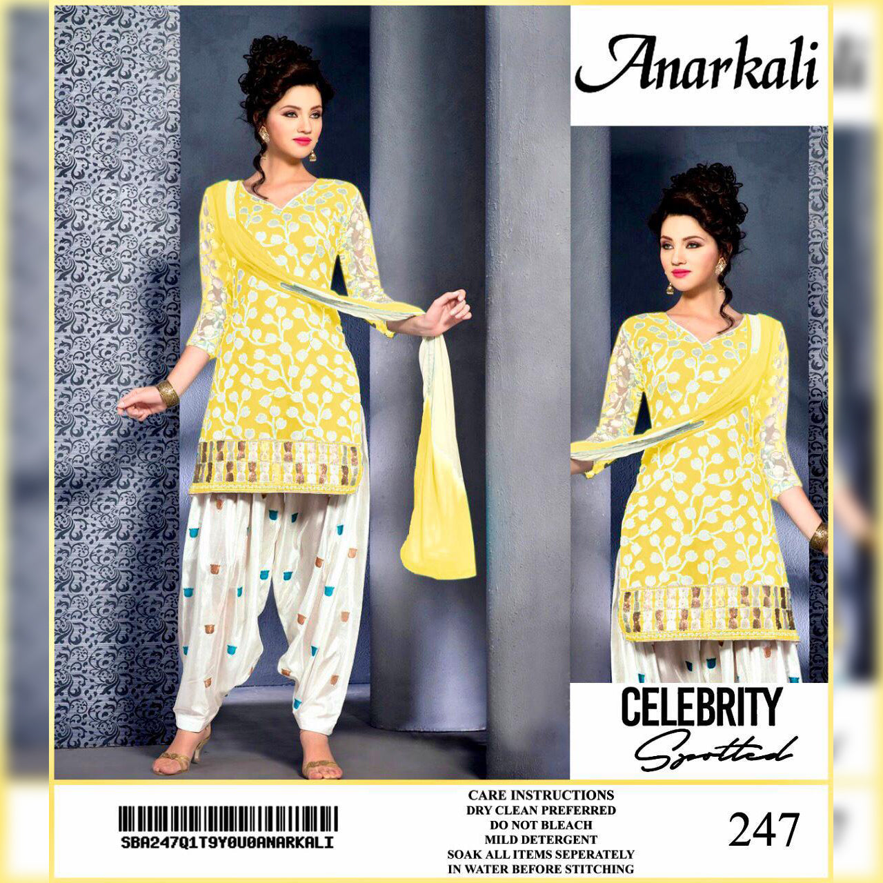 Anarkali Lawn Collection 3 Piece Un-stitch Suit For Ladies-NA8908