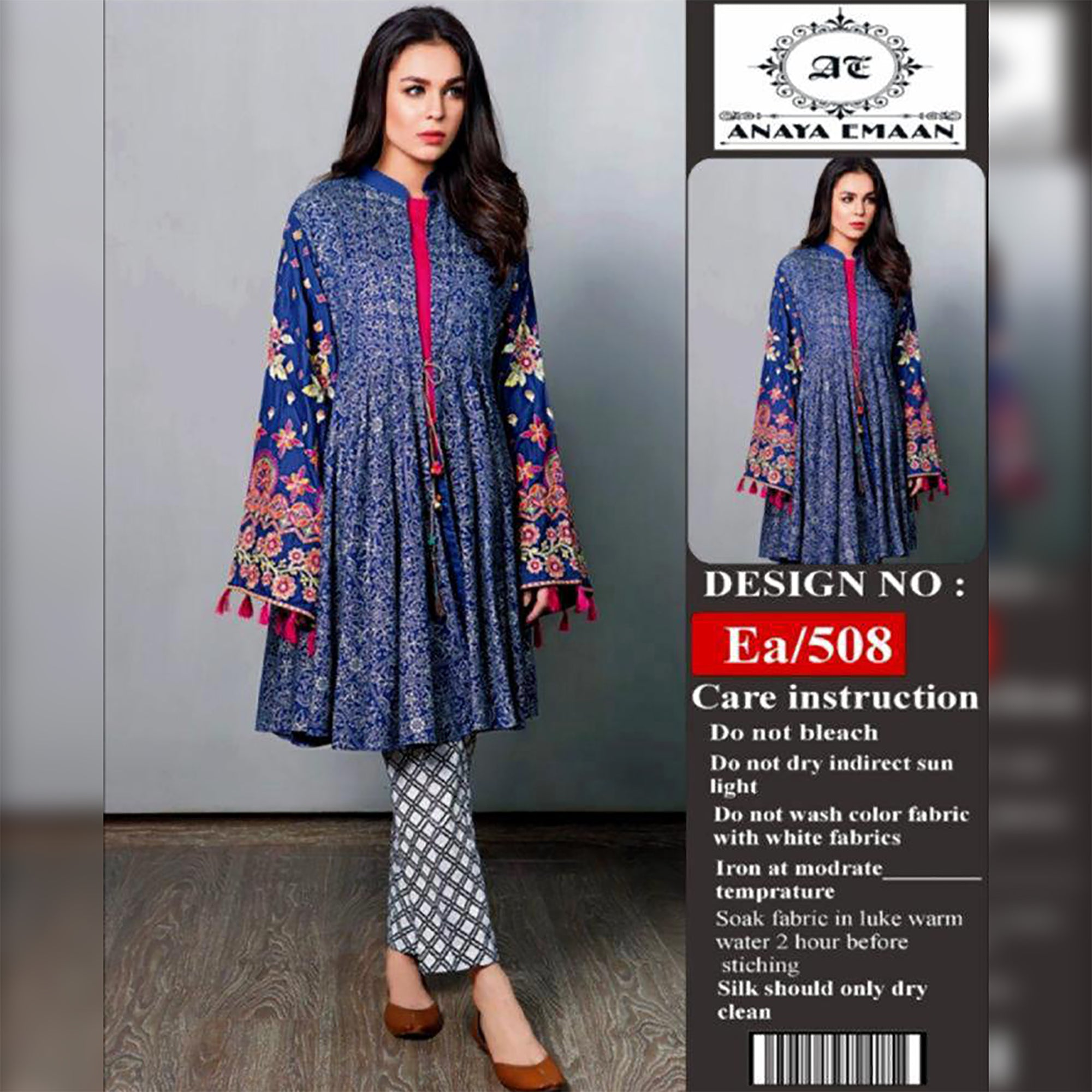 Anaya Emaan Lawn Collection 2 Piece Un-stitch Suit For Ladies-NA8836