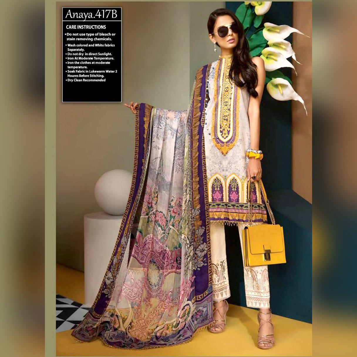 Anaya Lawn 3 Piece Un-stitch Suit For Ladies-NA8778