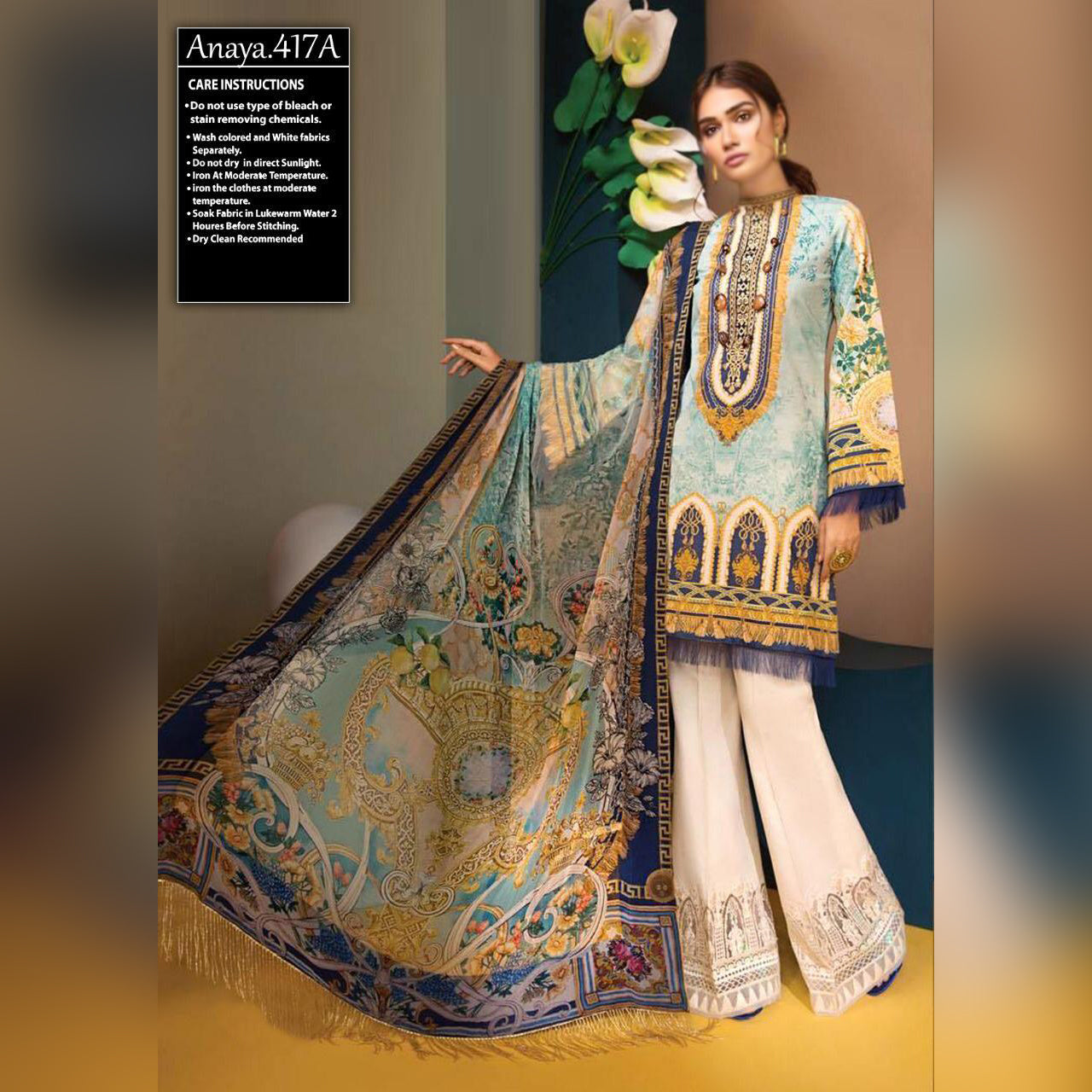 Anaya Lawn 3 Piece Un-stitch Suit For Ladies-NA8779