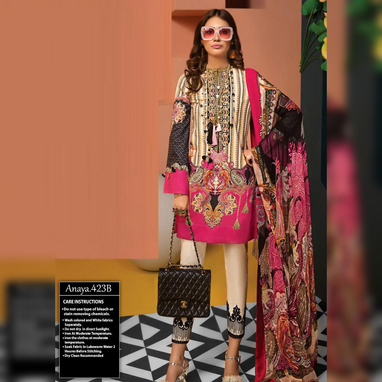 Anaya Lawn Collection 3 Piece Un-stitch Suit For Ladies-NA8816