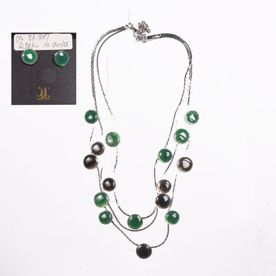 Antique Silver Plated Necklace Set With Ear Ring For Women-NA5207