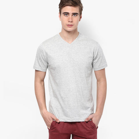 Fassion V Neck T Shirt For Men-Gray Melange-BE807