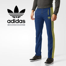 Adidas Cotton Trouser For Men-Blue with Light Yellow Stripe-BE2334