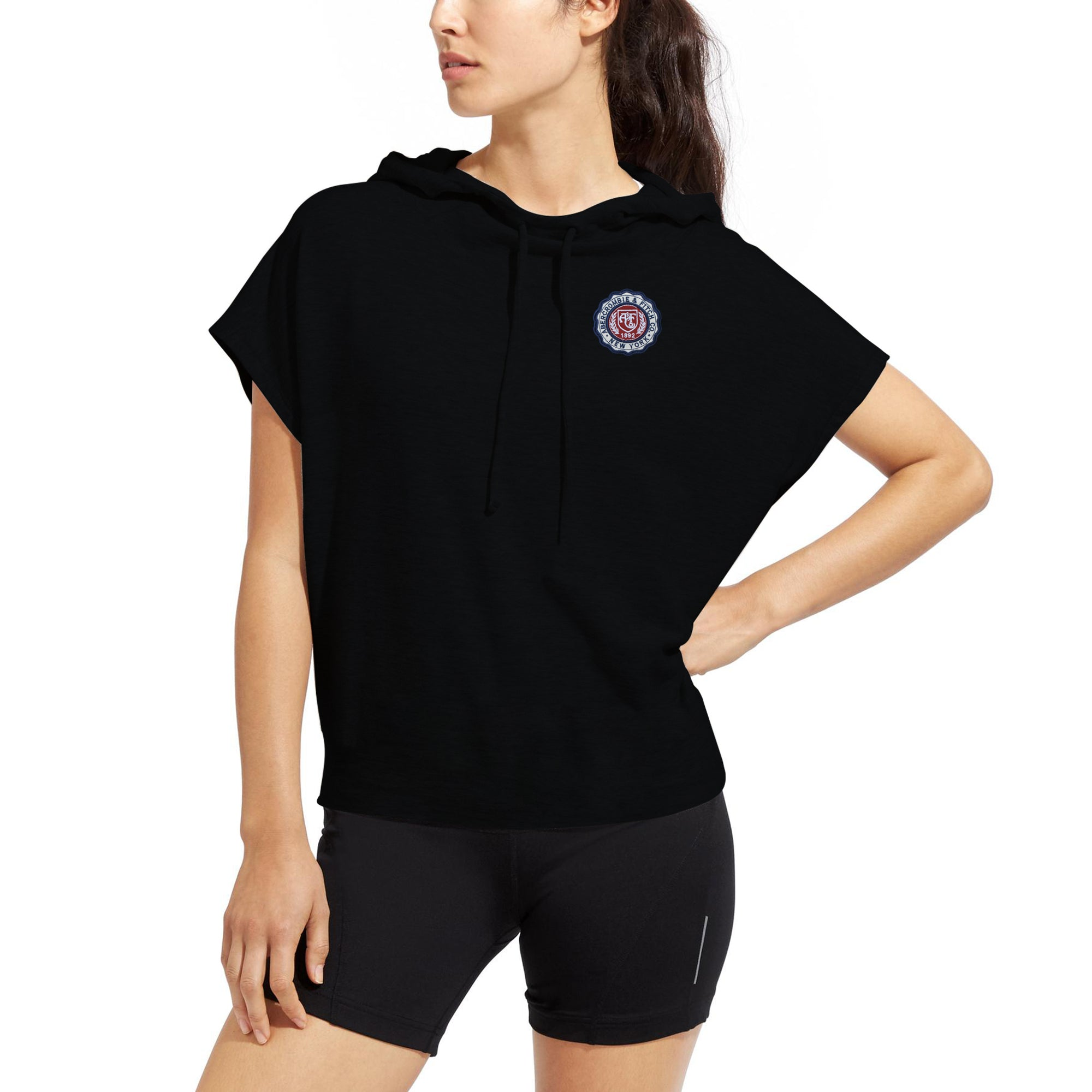 Next Fleece Short Sleeve Top For Ladies-Black-BE7035