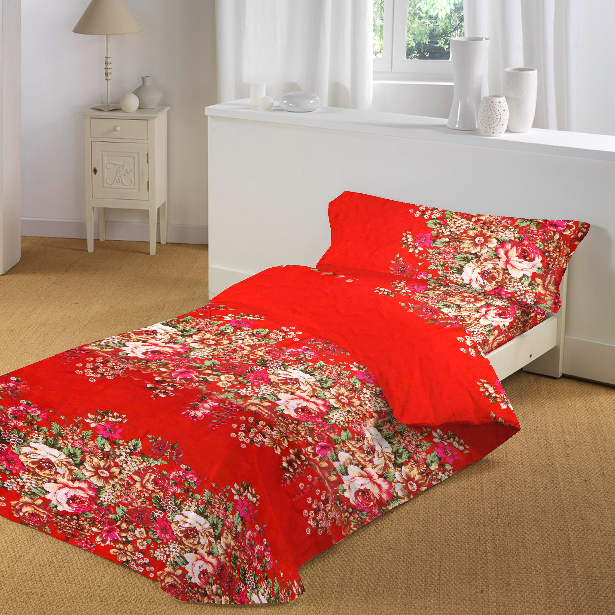 5D Oker's Island 100% Cotton Sutton Printed Single Bed Sheet & Pillow-NA6110