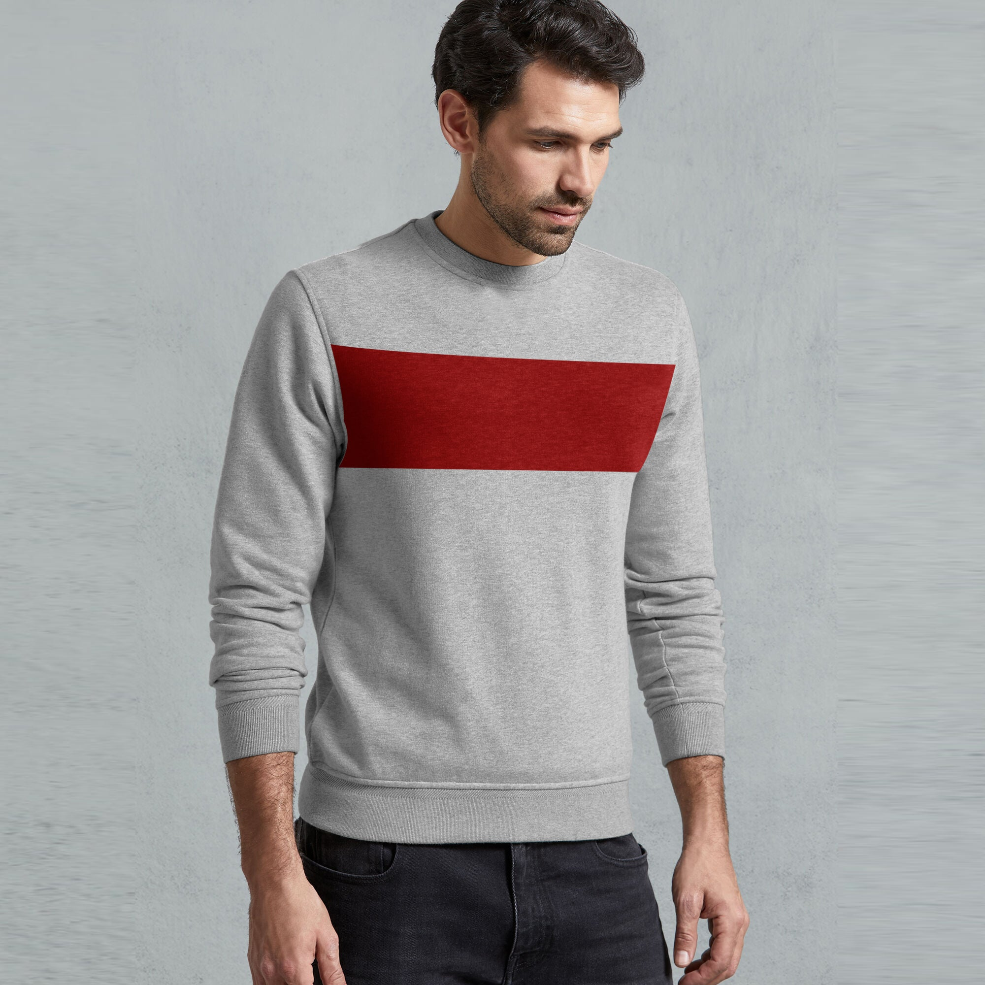 Next Fleece Crew Neck Sweatshirt For Men-Grey Melange with Red Panel-SP1060