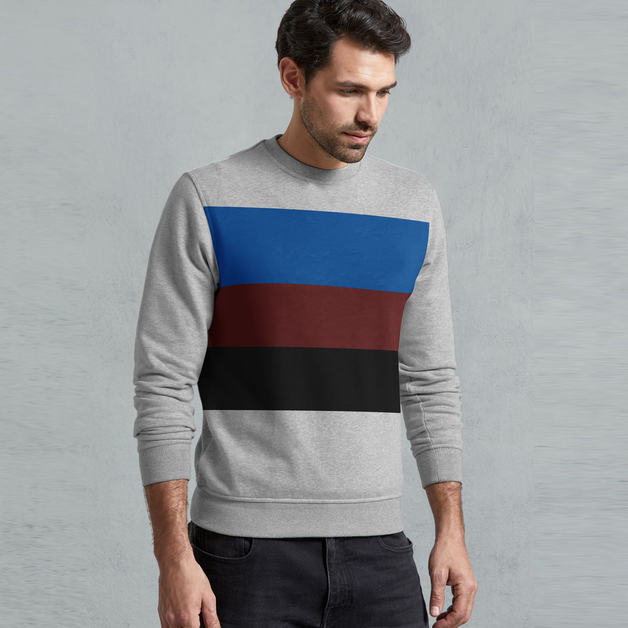 Next Fleece Crew Neck Sweatshirt For Men-Grey Melange with Panels-SP1587