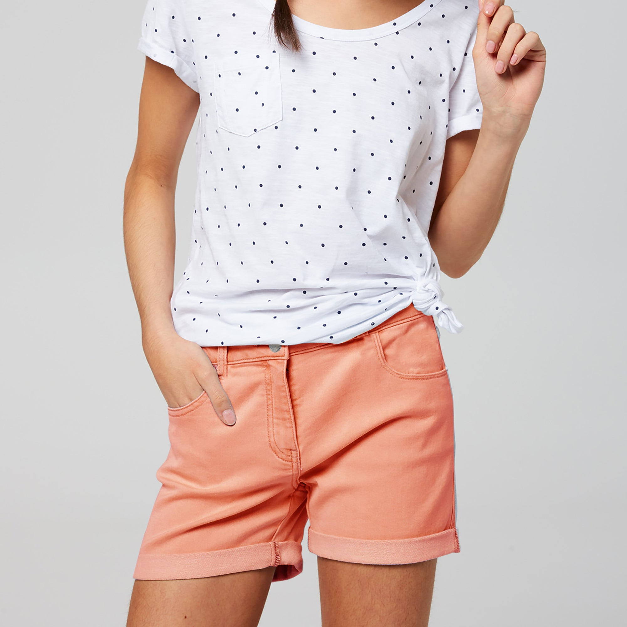 brandsego - BERMUDA Denim Short For Girls-Salmon-BE7108