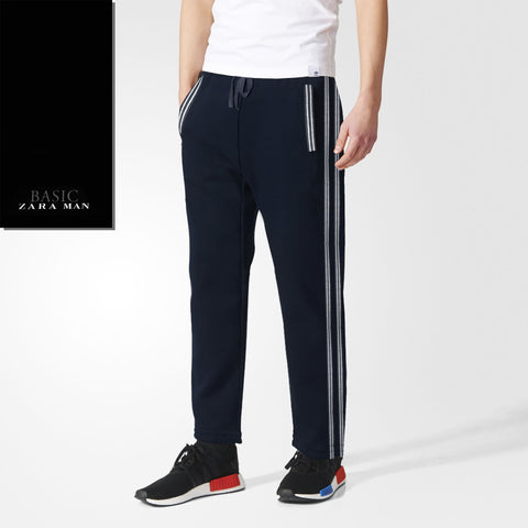 Zara Man Single Jersey Trouser For Men-Dark Navy With Gray Stripes-BE2048
