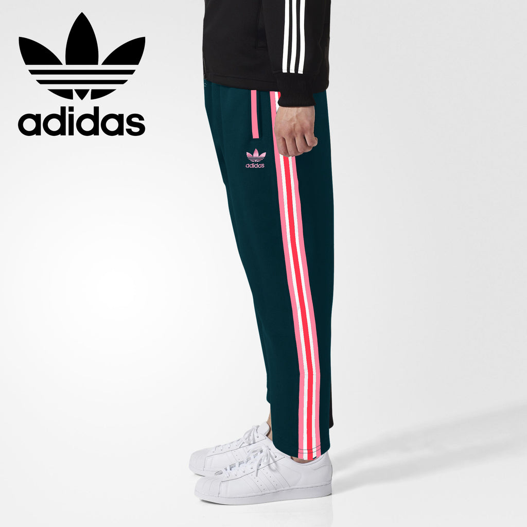 Adidas Cotton Trouser For Men-Dark Firozi With Pink & White Stripe-BE3246
