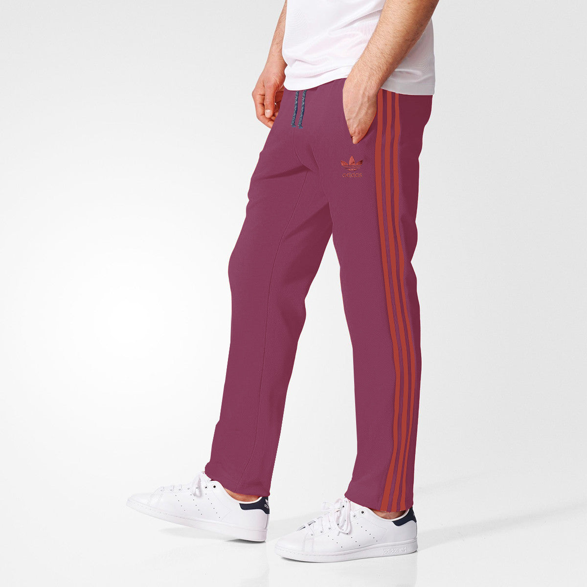 Adidas Cotton Trouser For Men-Light Berry With Corel Red Stripes-BE3001