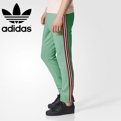 Adidas Cotton Trouser For Men-Light Parrot With Red Dark Navy & White Stripe-BE3229