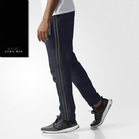 Zara Man Single Jersey Trouser For Men-Dark Navy Melange-BE2069