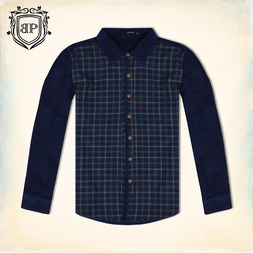 "Micro Check Cotton Flannel GR Casual Shirt For Men's By ""Bushirt Patloon"""