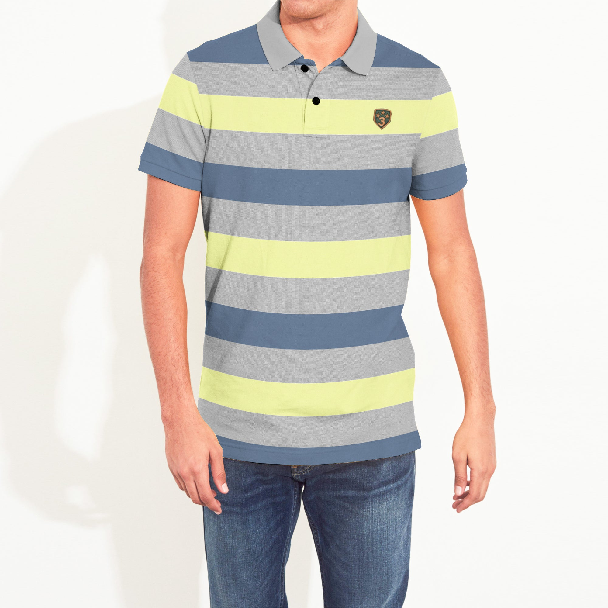 Banana Republic Short Sleeve P.Q Polo Shirt For Men-Multi Striper-NA8115