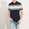 Banana Republic Short Sleeve P.Q Polo Shirt For Men-Navy & White Stripe-NA7965