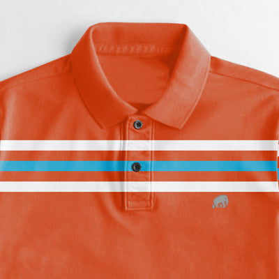 brandsego - Banana Republic Short Sleeve P.Q Polo Shirt For Men-Orange With Stripes-NA8438