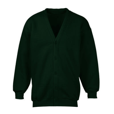 Banner Full Sleeve Y Neck Sweat Shirt Cardigan-Dark Green-NA10402