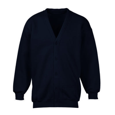 Banner Full Sleeve Y Neck Sweat Shirt Cardigan-Dark Navy-NA10403