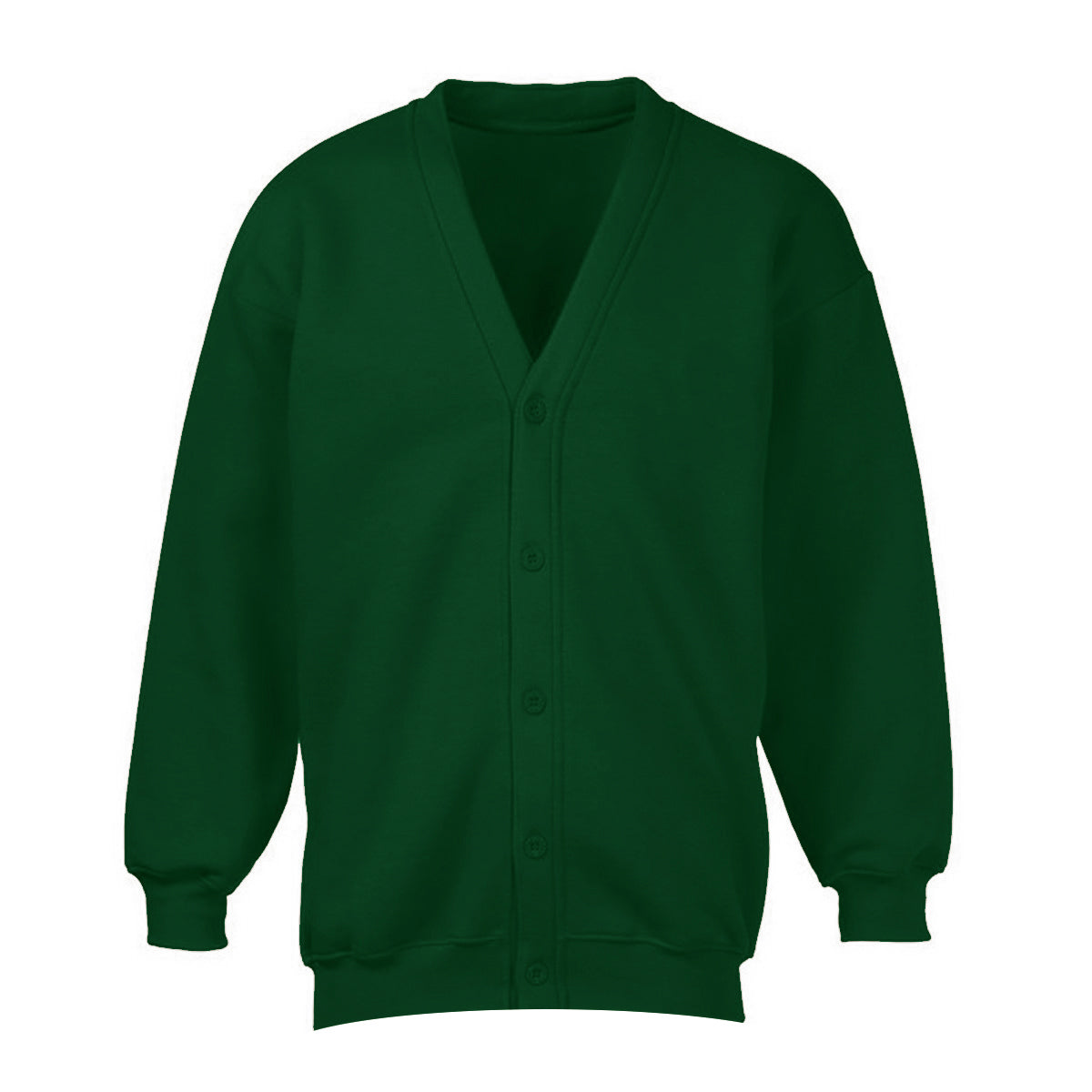 Banner Full Sleeve Y Neck Sweat Shirt Cardigan-Green-NA10409