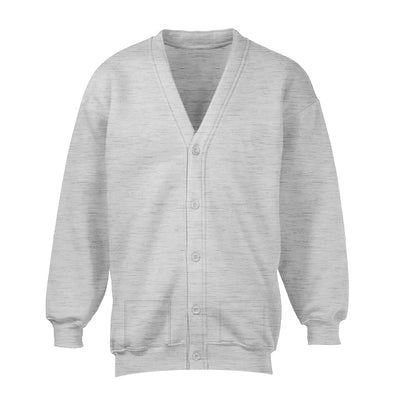 Banner Full Sleeve Y Neck Sweat Shirt Cardigan-Grey Melange-NA10406