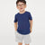 Basic Crew Neck Single Jersey Tee Shirt For Kids-Blue  Melange-NA11580