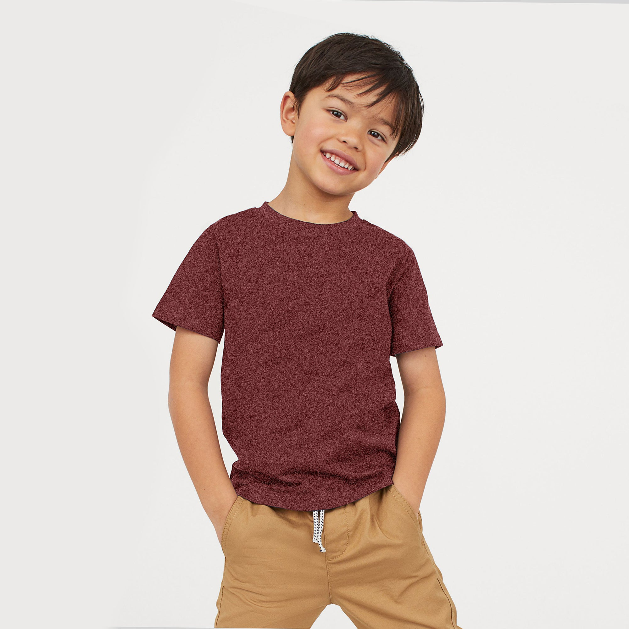 Basic Crew Neck Single Jersey Tee Shirt For Kids-Red Melange-NA11578