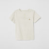 Basic Half Sleeve Single Jersey Henley T Shirt For Boys-Off White Melange-NA5386