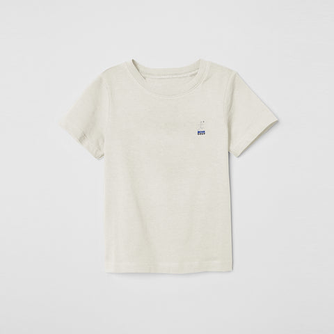 Basic Half Sleeve Single Jersey T Shirt For Boys-Off White Melange-NA5376