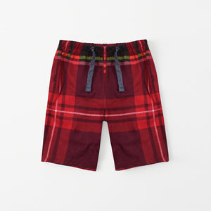 Bershka Falalen Cotton Short For Boys-Red Chek-NA5191