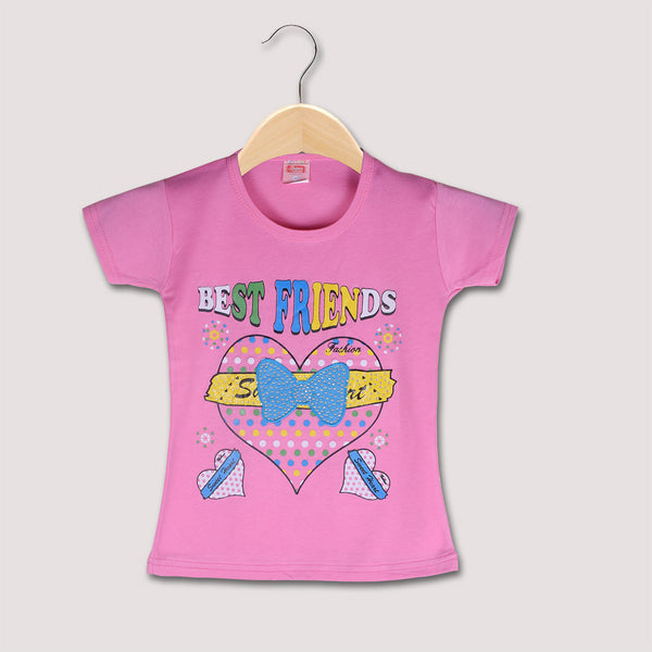"Girls Top's""A.S' Crew neck Top-Baby Pink-(T02)"