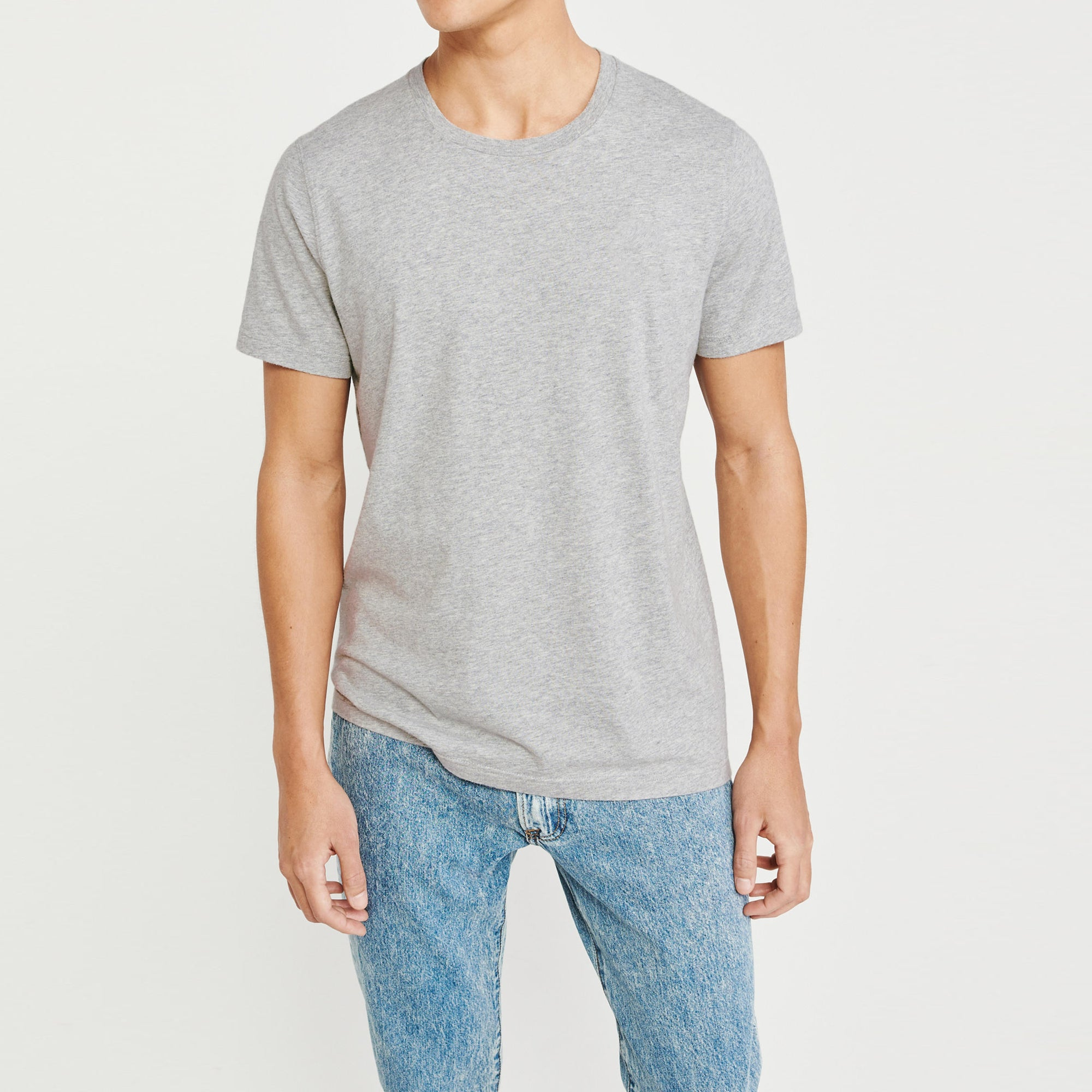 Beverly Hills Crew Neck Half Sleeve Tee Shirt For Men-Grey-NA8261