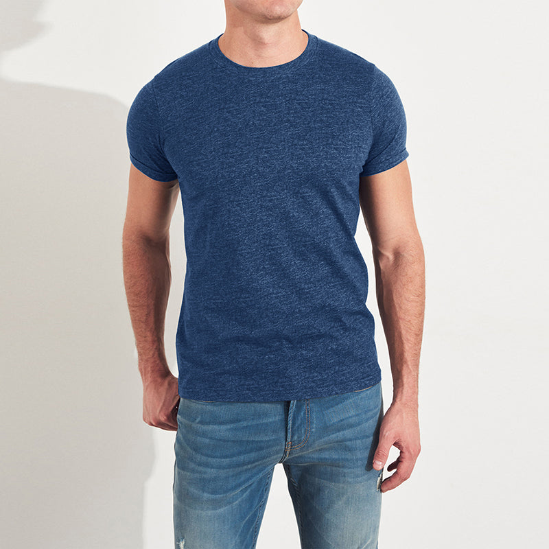 Beverly Hills Polo Club Crew Neck Half Sleeve Tee Shirt For Men-Blue Melange-NA8264
