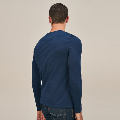 Beverly Hills Single Jersey Long Sleeve Tee Shirt For Men-Blue Melange-NA8234