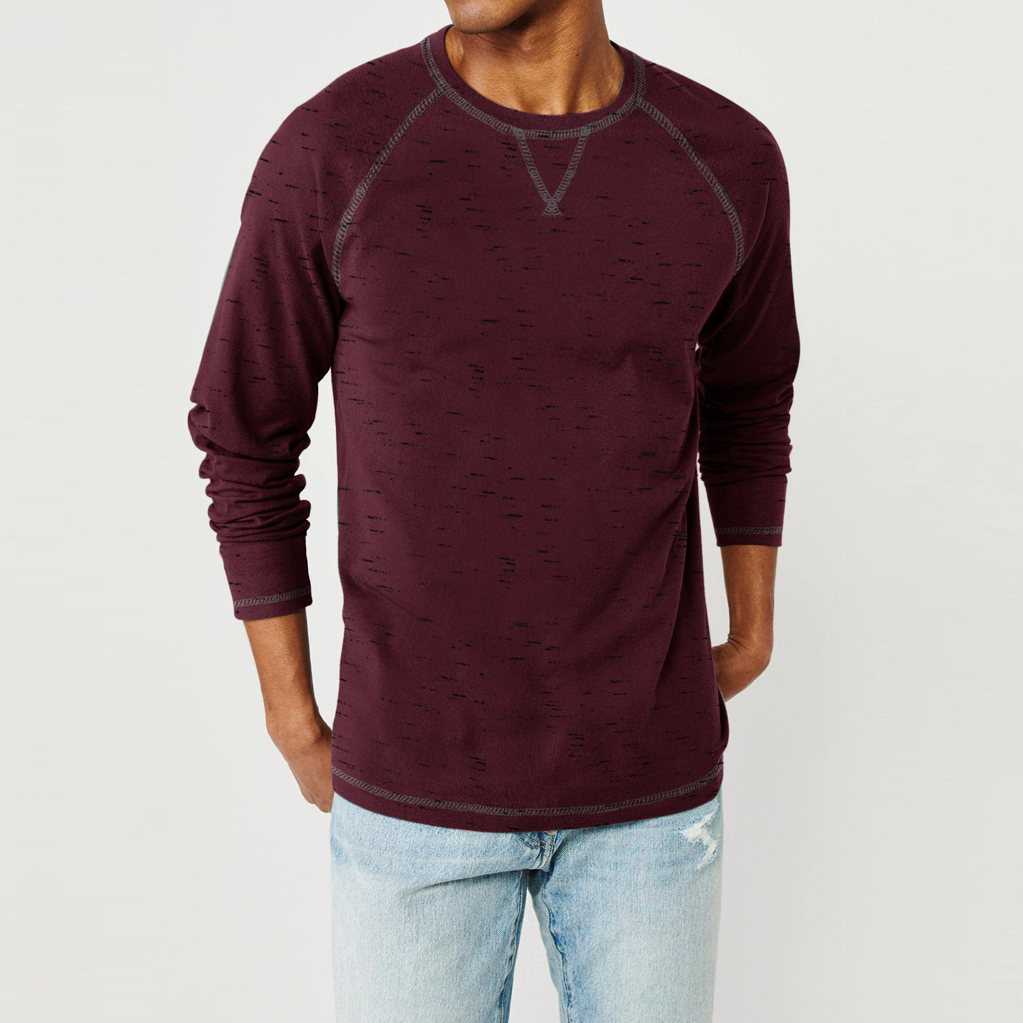 brandsego - Beverly Hills Single Jersey Long Sleeve Tee Shirt For Men-Maroon Melange-NA8925