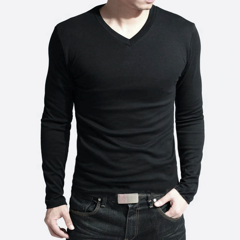 brandsego - Beverly Hills Single Jersey Long Sleeve V Neck Tee Shirt For Men-Black-NA8926