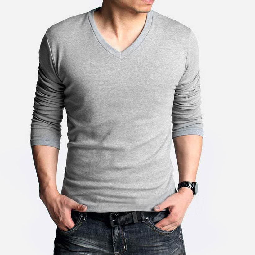 Beverly Hills Single Jersey Long Sleeve V Neck Tee Shirt For Men-Grey-NA8927