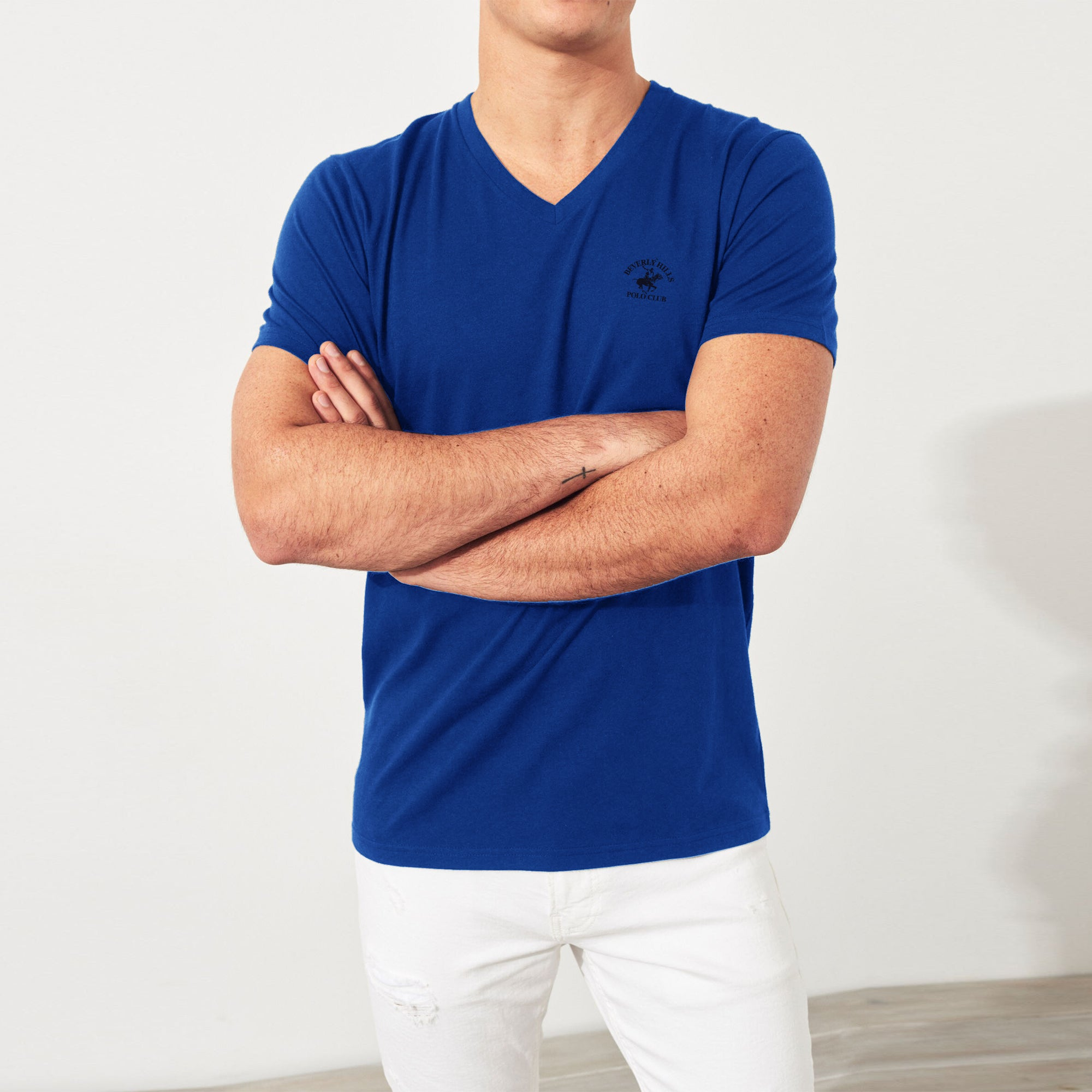 Beverly Hills V Neck Half Sleeve Tee Shirt For Men-NA9028