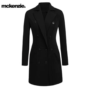 McKenzie Stylish Long Trench Coat For Ladies-Black-NA228