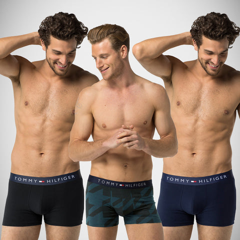 "3 Pack Of Men's ""Tommy Hillfiger"" Boxer Shorts-ASORTED-THB1"