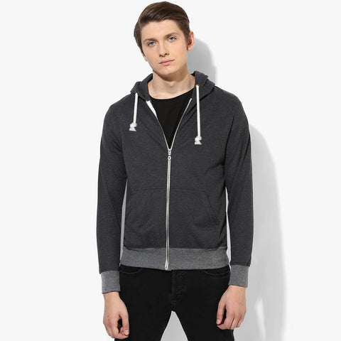 "Mens Cut Label ""Fat Face"" Zipper Hoodie Fleece -Black Melange-CLH40"